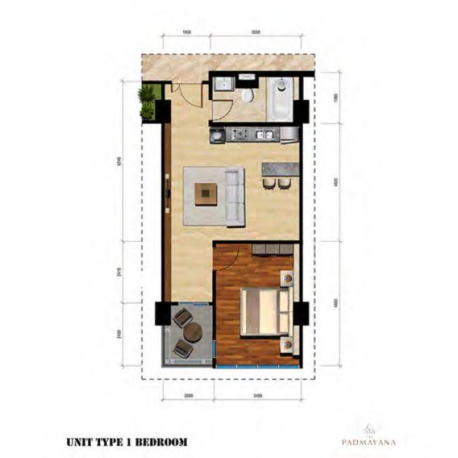 The Padmayana Denah Tipe 1 Bedroom
