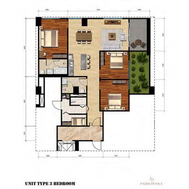 The Padmayana Denah Tipe 3 Bedroom